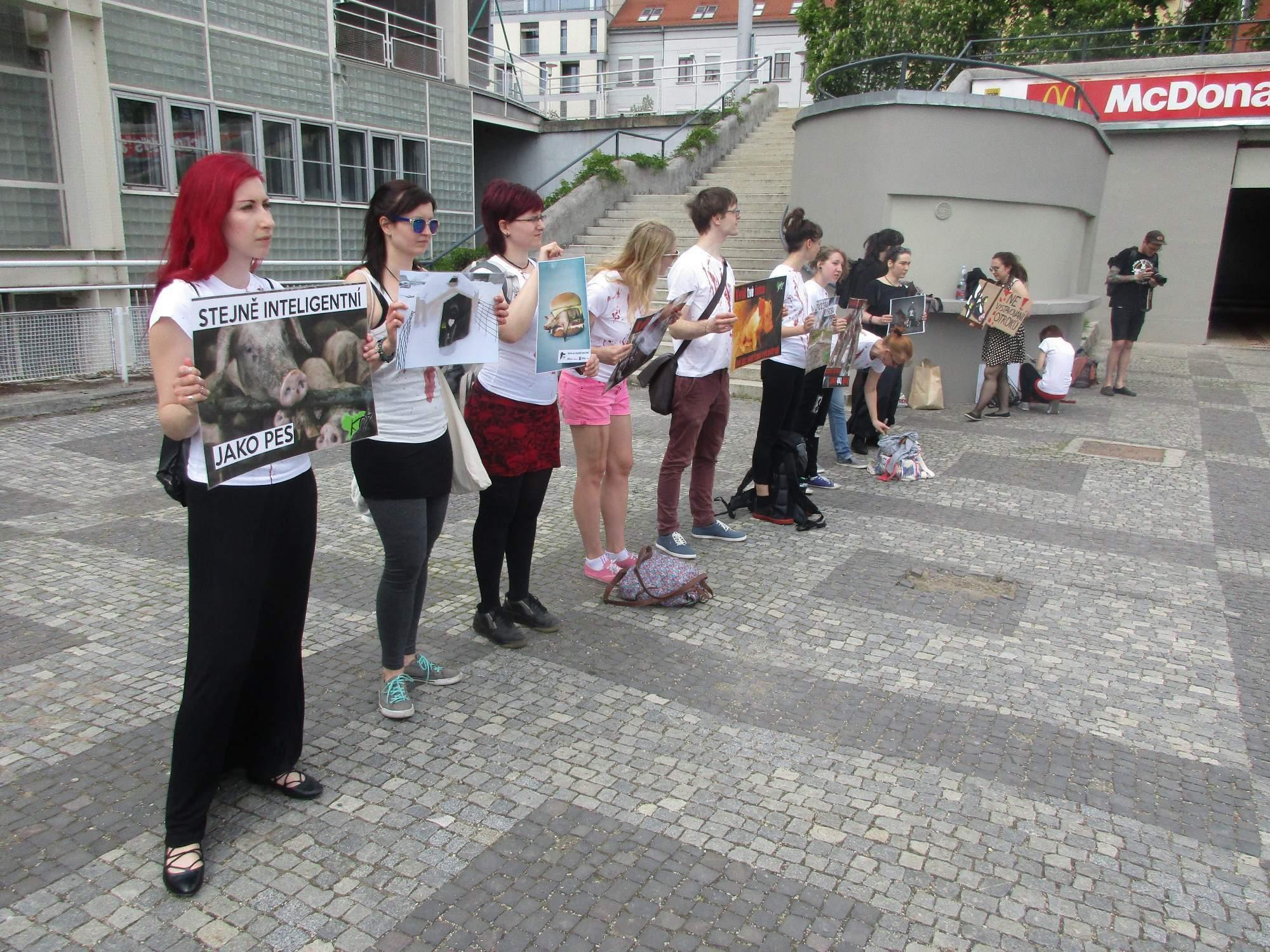 Hlavní část protestu se odehrála před výstavitěm. Foto: Dominika Sladká.