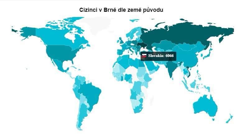 Cudzinci v Brne podľa krajiny pôvodu