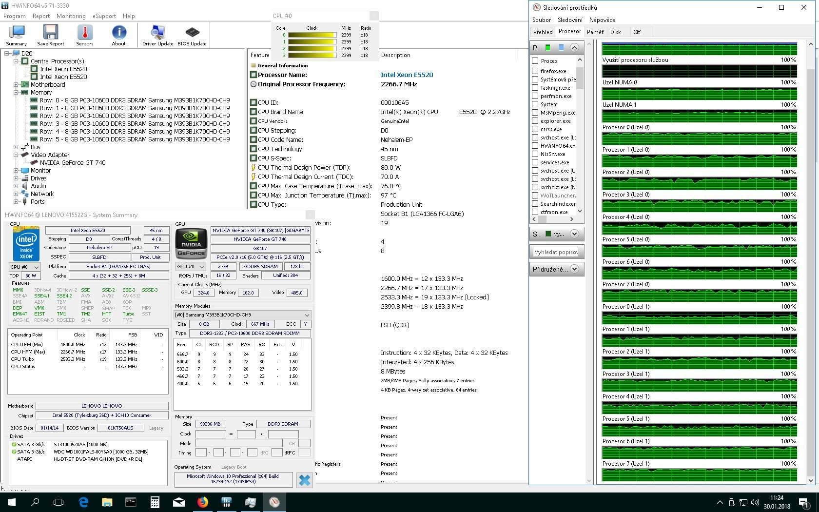 2x XEON E5520 2,27GHz 96G RAM