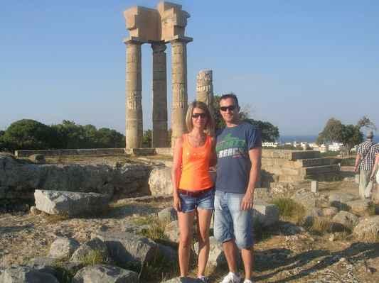 Zbytky Apollonova chrámu, Akropole Rhodos – pahorek Monte Smith, Řecko.