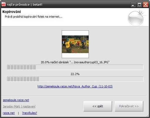 Kopírování fotek na server - Nyní prosím vyčkejte než program dokončí kopírování fotografií na server. Program u kopírovaných fotografií (nikoliv jejich originálů) automaticky optimalizuje jejich velikost tak, aby prohlížení fotografií na webu bylo příjemné, rychlé a uživatel zbytečně nečekal na načtení velkých souborů.